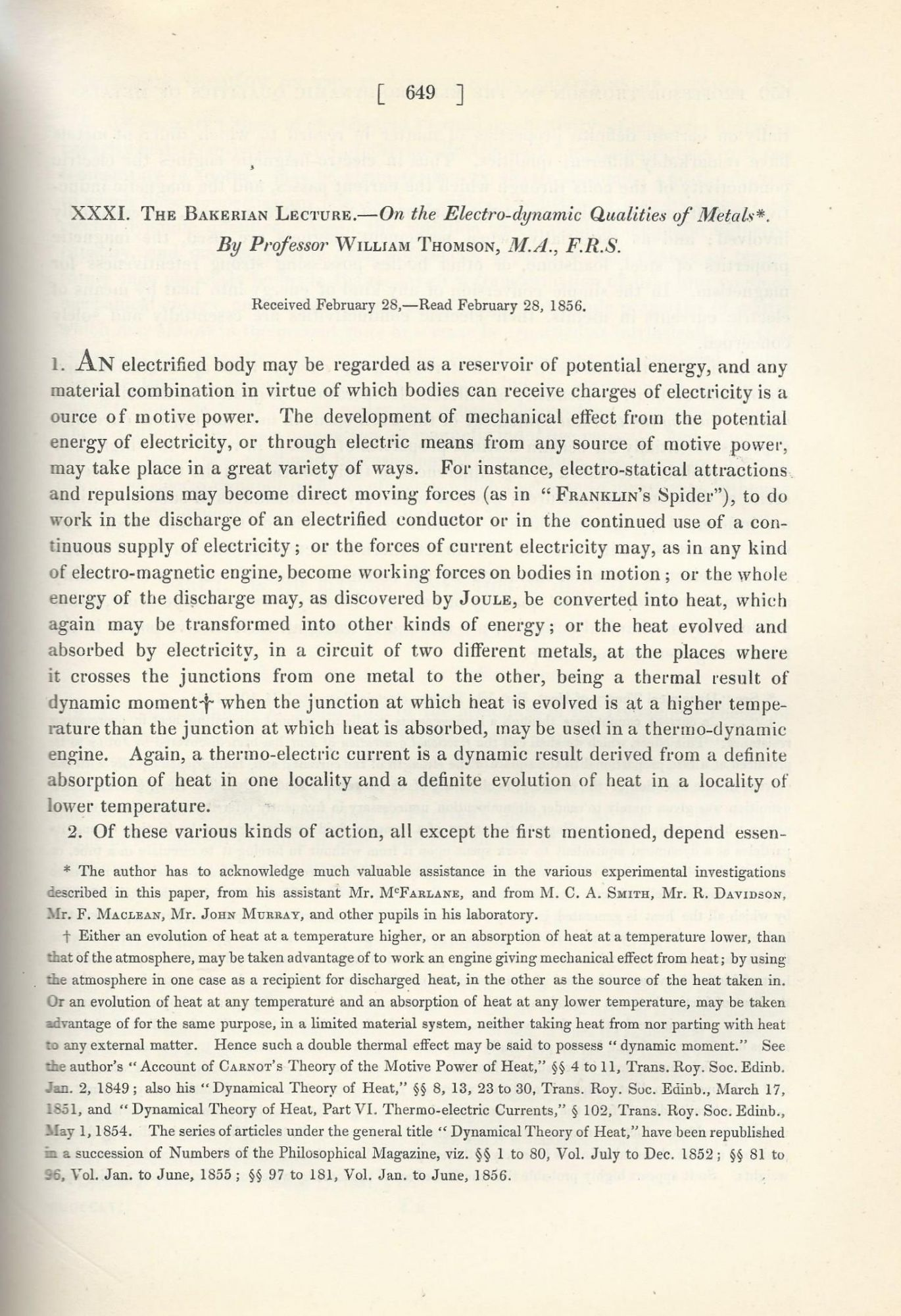 THE THOMSON EFFECT The Bakerian Lecture  On the Electro-dynamic Qualities  of Metals Philosophical Transactions of the Royal Society of London, Vol