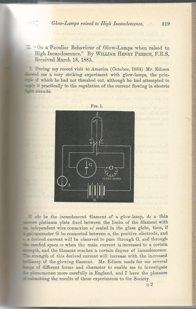 """THE EDISON EFFECT: """"On a peculiar behaviour of glow lamps when raised to high incandescence"""" (Proceedings of the Royal Society of London, Vol. 38, pp. 219-230). William Henry Preece."""