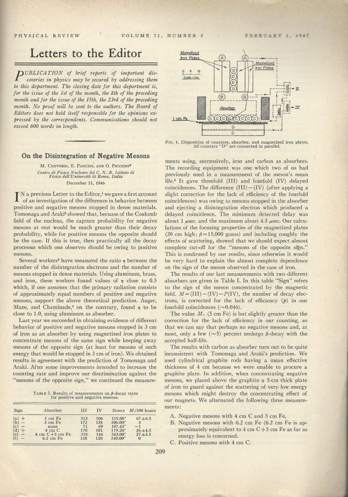 "MESONS, THE PION & THE MUON: ""On the Disintegration of Negative Mesons,"" ""The Decay of Negative Mesotrons in Matter,"" ""Mechanism of Capture of Slow Mesons,"" and ""On the Two-Meson Hypothesis"" (Physical Review; Volume 71 No. 3, pp. 209-210; Volume 72 No. 5, pp. 314–315, 320-321; Volume 72 No. 6, pp. 506-509) -- 3 Volumes. M. Conversi, E. Pancini, Oreste Piccioni, Enrico Fermi, Edward Teller, Victor Weisskopf, John A. Wheeler, Robert Marshak, Hans Bethe."