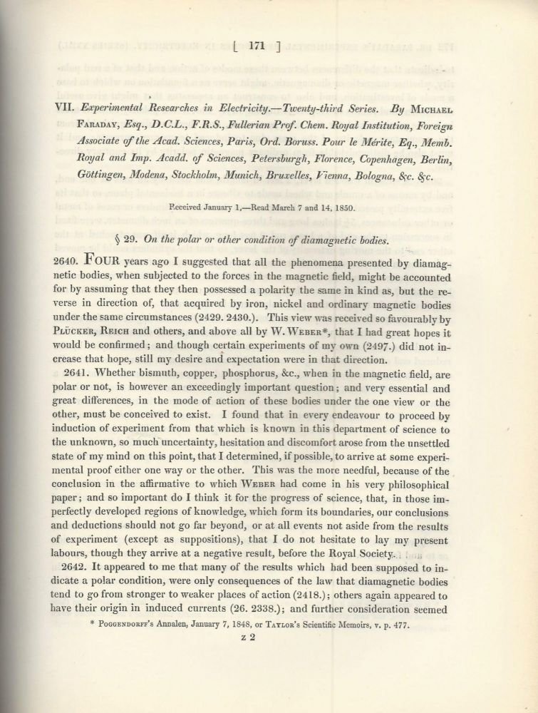 """""""Experimental Researches in Electricity -- Twenty-Third Series"""" (Philosophical Transactions of the Royal Society of London, Vol. 140 for the Year 1850 Part I, pp. 171-188). Michael Faraday."""