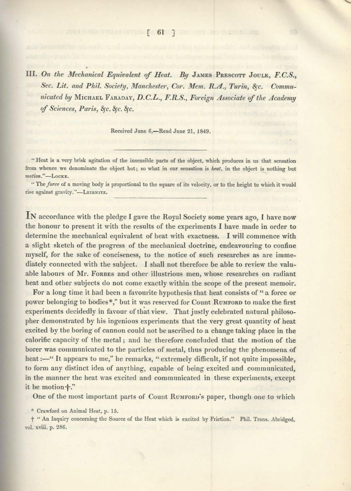 """""""On the Mechanical Equivalent of Heat"""" (Philosophical Transactions of the Royal Society of London, Vol. 140 for the Year 1850 Part I, pp. 61-82). James Prescott Joule."""
