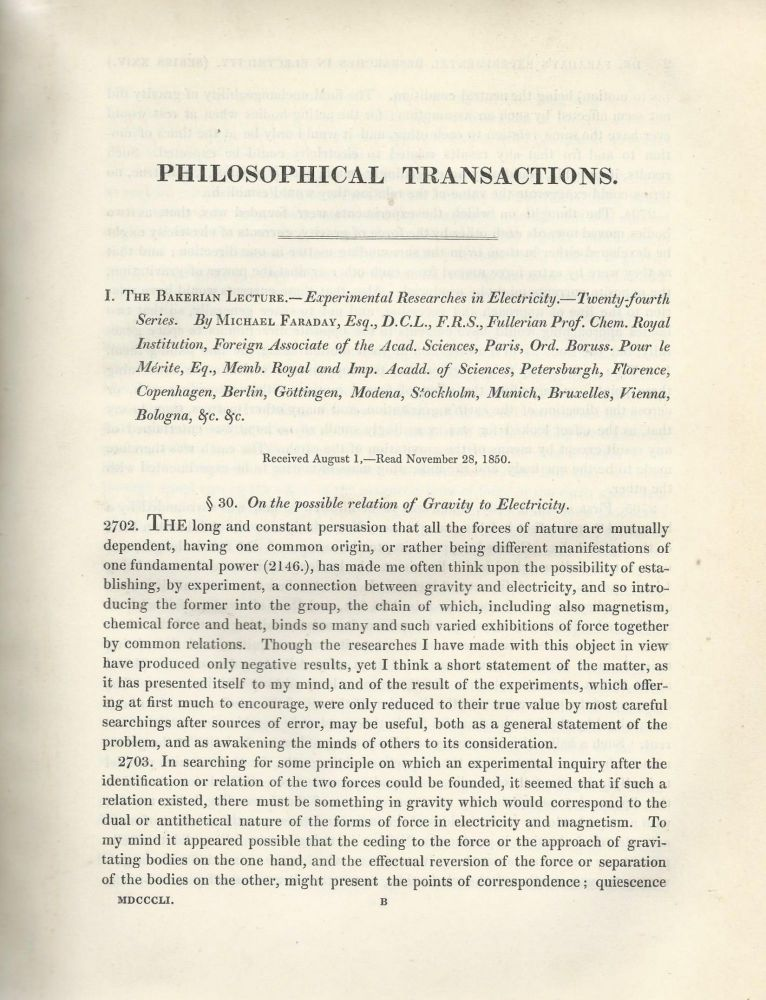 """""""Experimental Researches in Electricity -- Twenty-Fourth, Twenty-Fifth, Twenty-Sixth, & Twenty-Seventh Series"""" (Philosophical Transactions of the Royal Society of London, Vol. 141 for the Year 1851 Part I, pp. 1-116). Michael Faraday."""