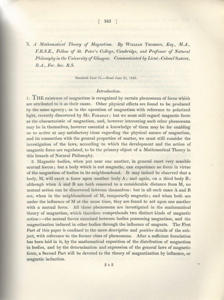 """""""A Mathematical Theory of Magnetism"""" & """"A Mathematical Theory of Magnetism. Continuation of Part I"""" (Philosophical Transactions of the Royal Society of London, Vol. 141 for the Year 1851 Part I, pp. 243-268, 269-285). William Thomson, Lord Kelvin."""