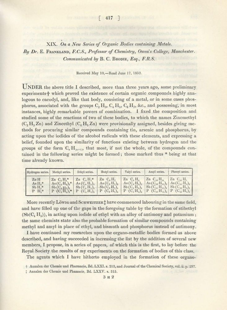 """""""On a New Series of Organic Bodies Containing Metals"""" (Philosophical Transactions of the Royal Society of London, Vol. 142 for the Year 1852 Part I & II, pp. 417-444). Edward Frankland."""