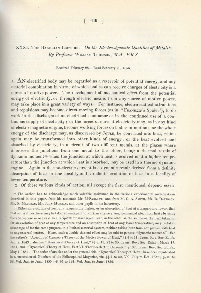 """THE THOMSON EFFECT """"The Bakerian Lecture. On the Electro-dynamic Qualities of Metals"""" (Philosophical Transactions of the Royal Society of London, Vol. 146 for the Year 1856 Part I & II, pp. 649-751). William Thomson, Lord Kelvin."""