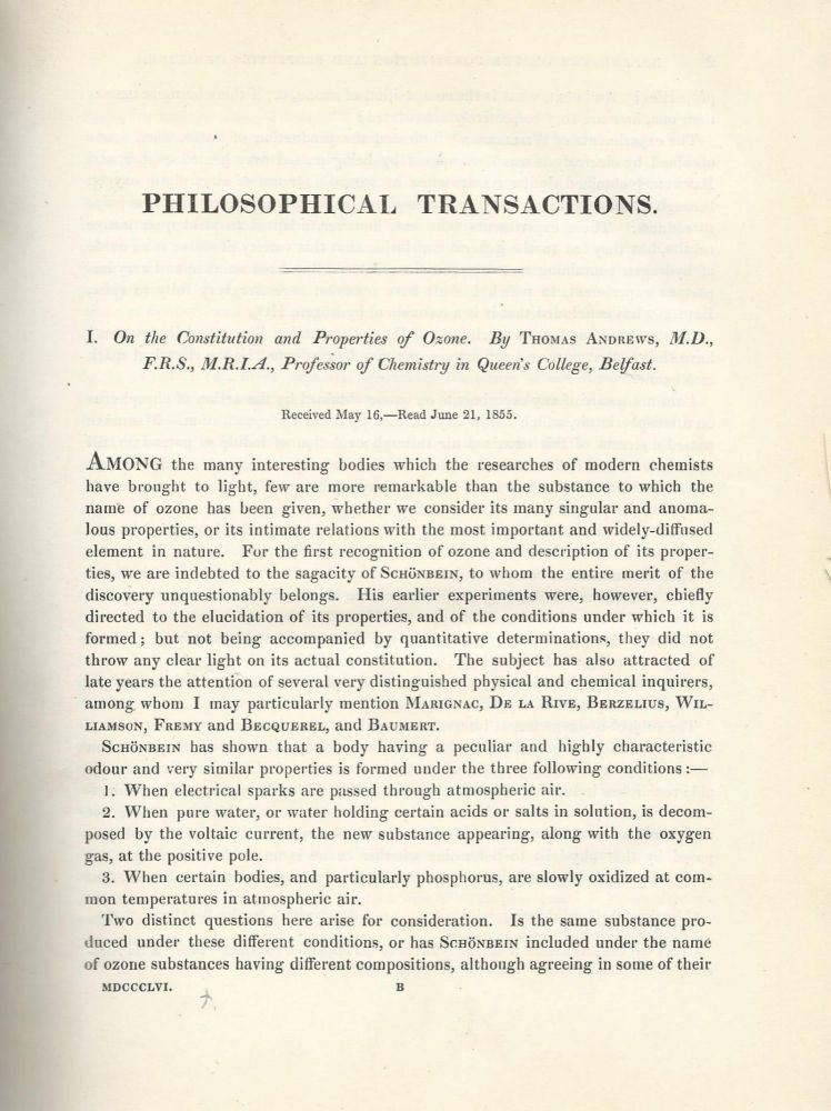 """On the Constitution and Properties of Ozone"" (Philosophical Transactions of the Royal Society of London, Vol. 146 for the Year 1856 Part I & II, pp. 1-13). William Andrews."