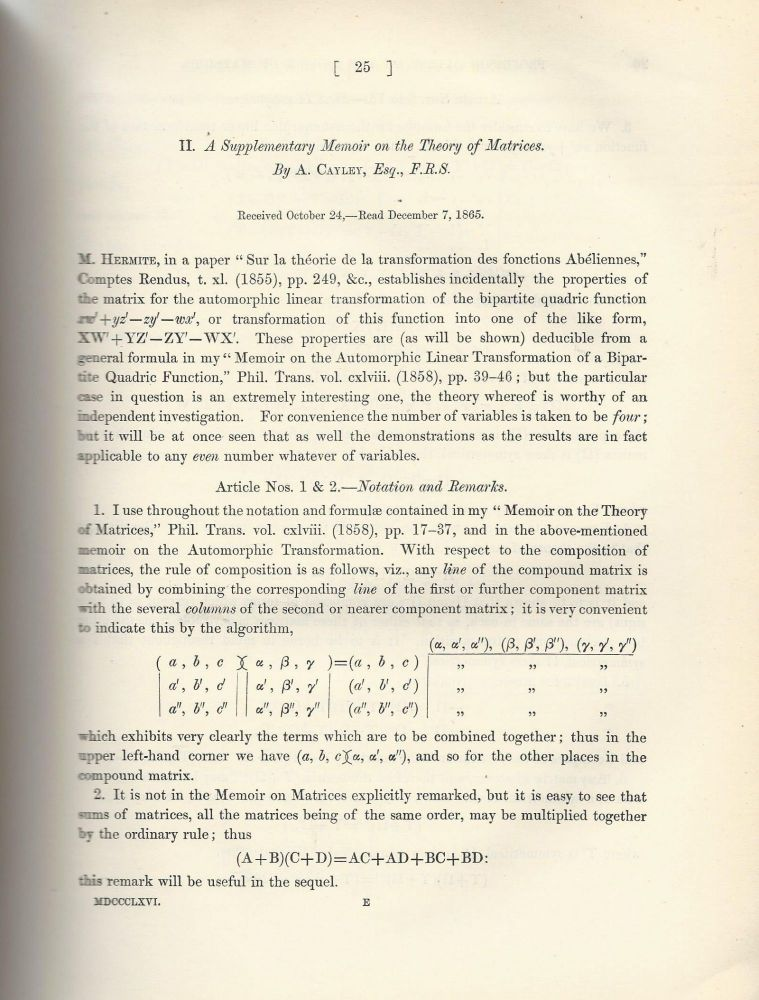 """""""A Supplementary Memoir on the Theory of Matrices"""" (Philosophical Transactions of the Royal Society of London, Vol. 156 for the Year 1866, pp. 25-35). Arthur Cayley."""