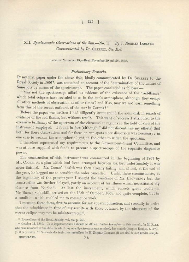 "HELIUM IN THE SUN: ""Spectroscopic Observations of the Sun. -- No. II"" (Philosophical Transactions of the Royal Society of London, Vol. 159 for the Year 1869, pp. 425-444). J. Norman Lockyer."