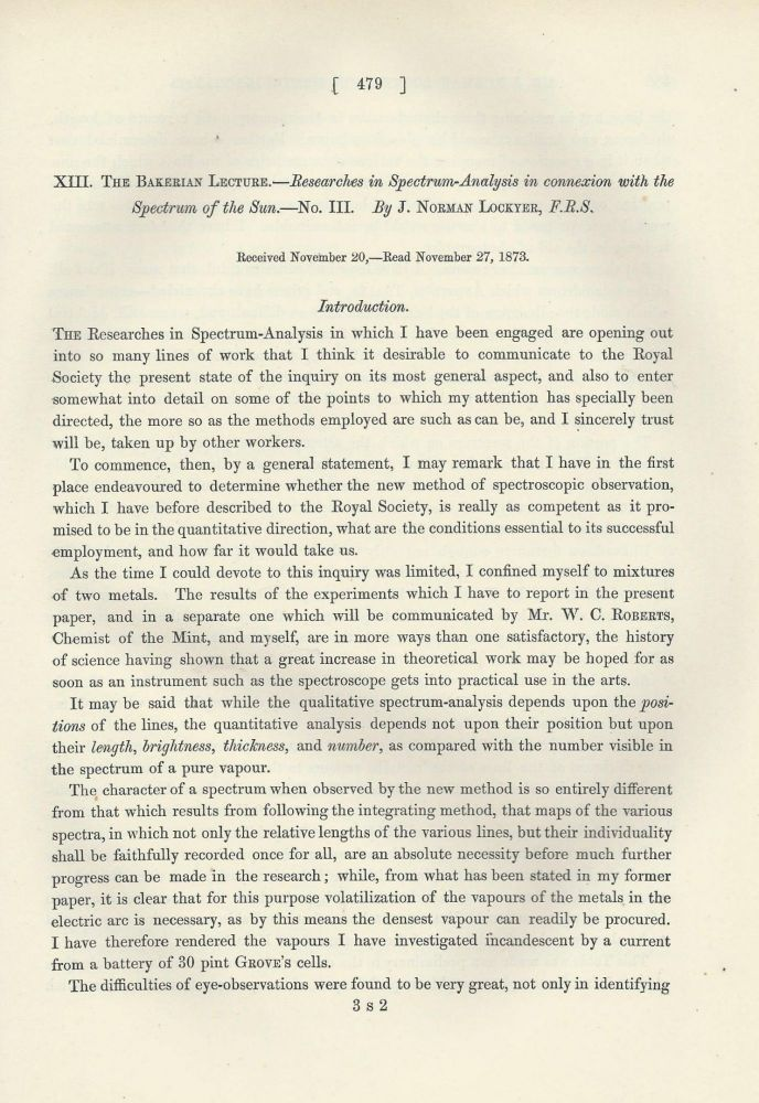 """Researches in Spectrum-Analysis in Connexion with the Spectrum of the Sun. No. III and IV"" (Philosophical Transactions of the Royal Society of London, Vol. 164 for the Year 1874, pp. 479-494, 805-813). J. Norman Lockyer."