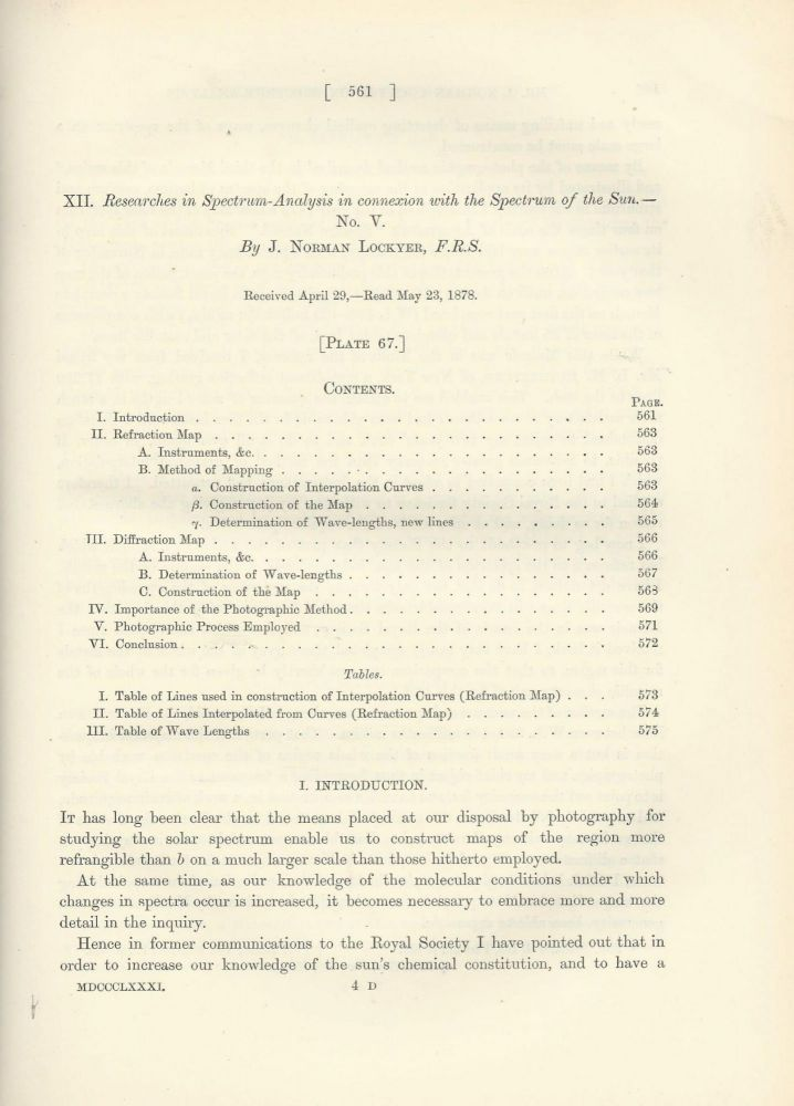 """""""Researches in Spectrum-Analysis in Connexion with the Spectrum of the Sun. No. V"""" (Philosophical Transactions of the Royal Society of London, Vol. 172 for the Year 1882, pp. 561-576). J. Norman Lockyer."""