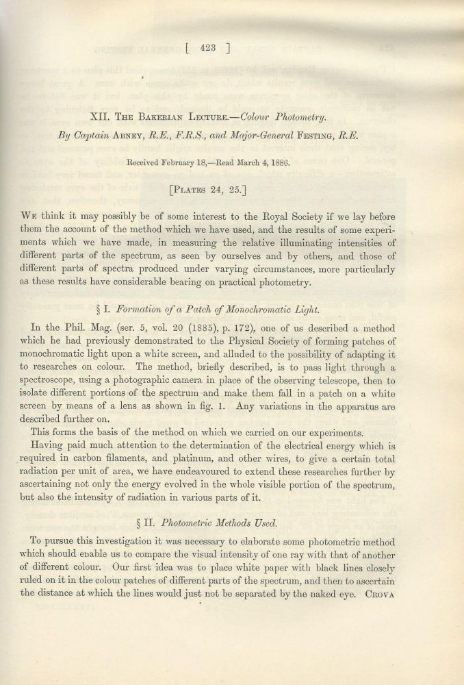 """FIRST PHOTOGRAPHS OF THE SOLAR SPECTRUM IN INFRARED: """"The Bakerian Lecture - Colour Photometry"""" & """"The Solar Spectrum, from [gamma] 7150 to [gamma] 10,000"""" (Philosophical Transactions of the Royal Society of London, Vol. 177 for the Year 1887, pp. 423-456, 457-460). William de Wiveleslie Abney, Edward R. Festing."""
