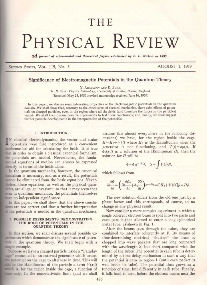 "AHARANOV-BOHM EFFECT: ""Significance of Electromagnetic Potentials in the Quantum Theory"" and ""Observation of Aharonov-Bohm Effect by Electron Holography"" (Physical Review: (Second Series) Vol. 115, No. 3; Vol. 48, No. 21 pp. 485-491, 1443-1446) -- 2 Volumes. Yuri Aharanov, David Bohm, Akira Tonomura."