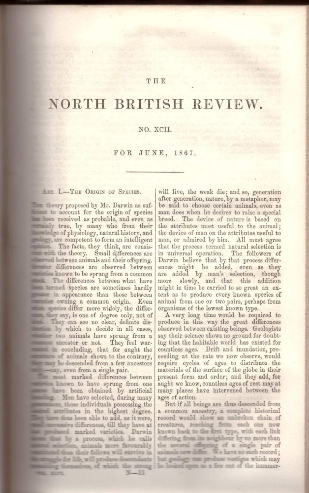 "CORRECTION TO DARWIN'S THEORY ""The Origin of Species"" (The North British Review No. 92 pp. 149-171, 1867). Anonymous, Fleeming Jenkin."