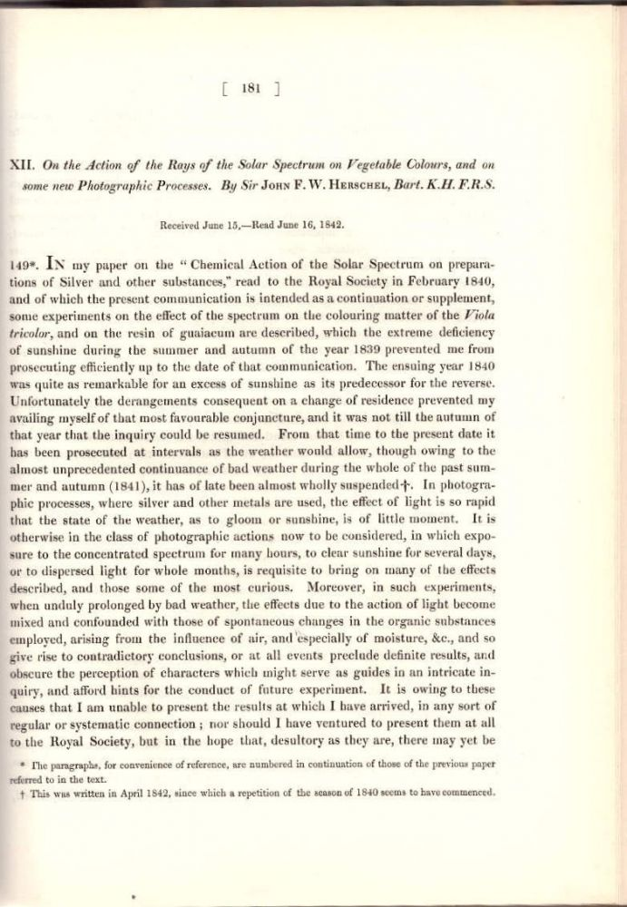 """INVENTION OF THE PHOTOCOPY: """"On the Action of the Rays of the Solar Spectrum on Vegetable Colours, and on some new Photographic Processes"""" (Philosophical Transactions of the Royal Society of London, Vol. 132 for the Year 1842 Part I & Part II, pp. 181-214). John F. W. Herschel."""