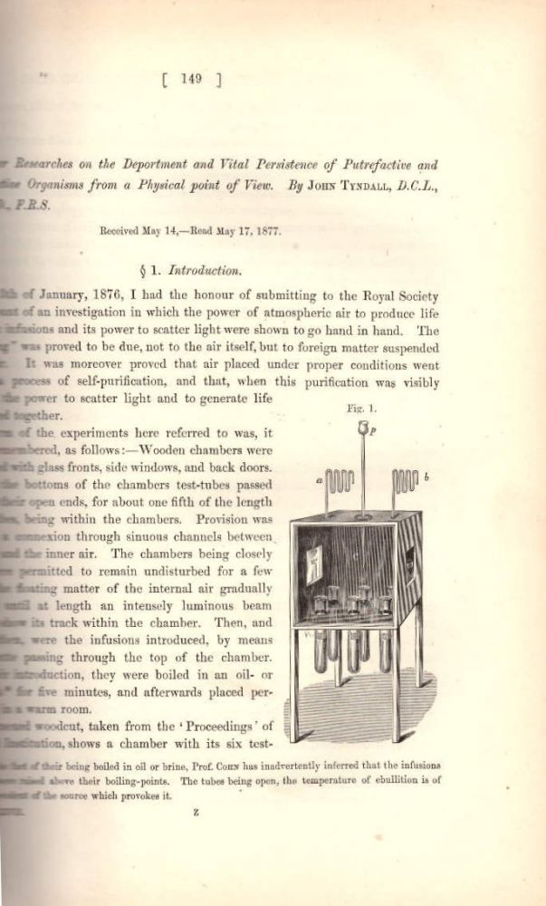 """GERM THEORY & TYNDALLIZATION : """"Further Researches on the Deportment and Vital Persistence of Putrefactive and Infective Organisms from a Physical Point of View"""" (Philosophical Transactions of the Royal Society of London, Vol. 167 for the Year 1877 Part I & Part II, pp. 149-206). John Tyndall."""