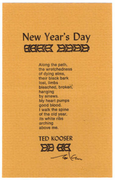 New Year's Day. Ted Kooser.