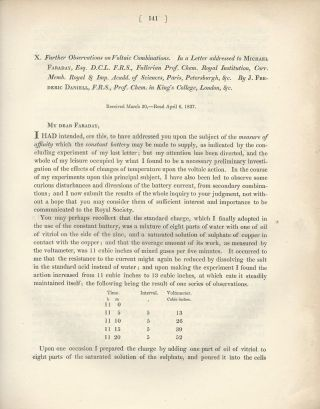 """Further Observations on Voltaic Combinations. In a Letter addressed to Michael Faraday""..."