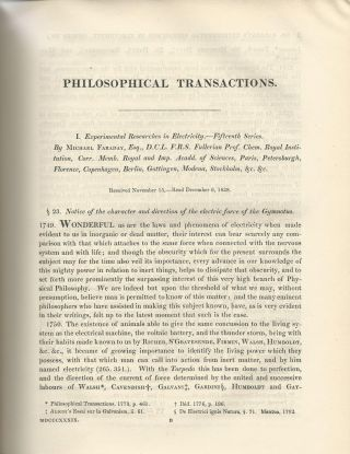 """Experimental Researches in Electricity -- Fifteenth Series"" (Philosophical Transactions of the..."
