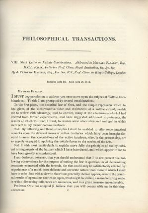 "DANIELL CELL: ""Sixth Letter on Voltaic Combinations"" (Philosophical Transactions of the Royal..."