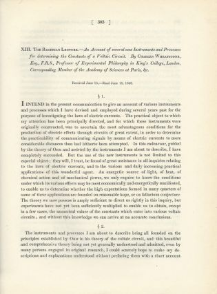 "WHEATSTONE BRIDGE: ""The Bakerian Lecture -- An Account of Several New Instruments and Processes..."