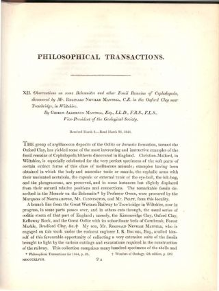 """STUDY OF DINOSAURS CONTINUES: """"Observations on some Belemnites and other Fossil Remains of Cephalopoda, discovered by Mr. Reginald Neville Mantell.."""" and """"On the Structure of the Jaws and Teeth of the Iguanodon"""" (Philosophical Transactions of the Royal Society of London, Vol. 138 for the Year 1848 Part I & Part II, pp. 171-181, 183-202)"""