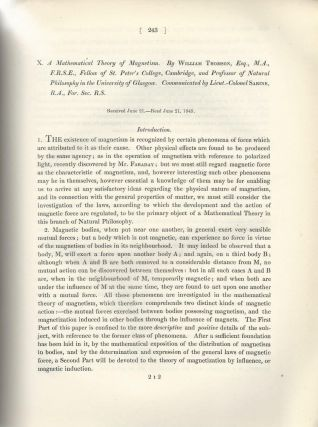 """A Mathematical Theory of Magnetism"" & ""A Mathematical Theory of Magnetism. Continuation of..."