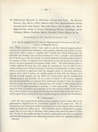 """LINES OF MAGNETIC FORCE & MAGNETO-ELECTRIC CURRENT: """"Experimental Researches in Electricity -- Twenty-Eighth & Tweny-Ninth Series"""" (Philosophical Transactions of the Royal Society of London, Vol. 142 for the Year 1852 Part I & II, pp. 25-56, 137-159)"""