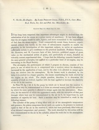 """On the Air Engine"" (Philosophical Transactions of the Royal Society of London, Vol. 142 for the..."
