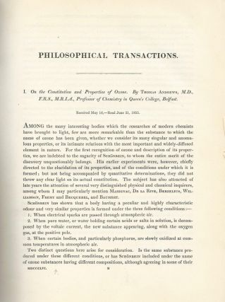 """On the Constitution and Properties of Ozone"" (Philosophical Transactions of the Royal Society of..."