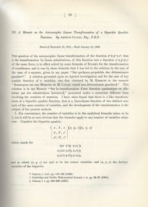 "CAYLEY-HAMILTON THEORUM & MATRICES: ""Memoir on the Theory of Matrices"" & ""A Memoir on the Automorphic Linear Transformation of Bipartite Quadric Function"" (Philosophical Transactions of the Royal Society of London, Vol. 148 for the Year 1858, pp. 17-37, 39-52)"
