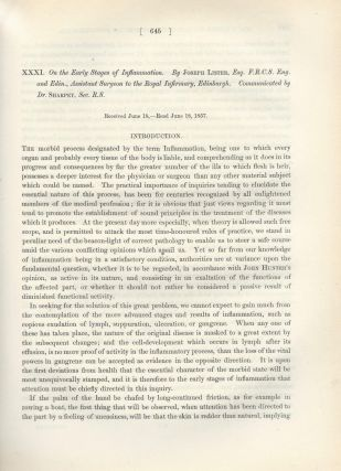 """INFLAMMATION: """"An Inquiry Regarding the Parts of the Nervous System Which Regulate the Contractions of the Arteries,"""" """"On the Cutaneous Pigmentary System of the Frog,"""" & """"On the Early Stages of Inflammation"""" (Philosophical Transactions of the Royal Society of London, Vol. 148 for the Year 1858, pp. 607-625, 627-643, 645-702)"""