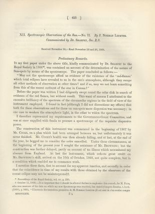 "HELIUM IN THE SUN: ""Spectroscopic Observations of the Sun. -- No. II"" (Philosophical Transactions of the Royal Society of London, Vol. 159 for the Year 1869, pp. 425-444)"