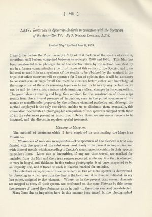 """Researches in Spectrum-Analysis in Connexion with the Spectrum of the Sun. No. III and IV"" (Philosophical Transactions of the Royal Society of London, Vol. 164 for the Year 1874, pp. 479-494, 805-813)"