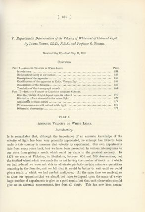 "SPEED OF LIGHT: ""Experimental Determination of the Velocity of White and of Coloured Light""..."