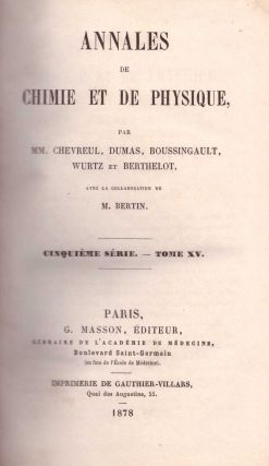 Annales de Chimie et de Physique (5th Series, Volume 15). Pierre Louis Dulong, Louis Jacques...