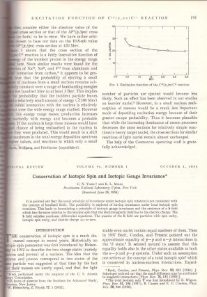 "YANG-MILLS THEORY: ""Conservation of Isotopic Spin and Isotopic Gauge Invariance"" (Physical..."