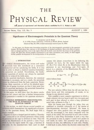 "AHARANOV-BOHM EFFECT: ""Significance of Electromagnetic Potentials in the Quantum Theory"" and..."