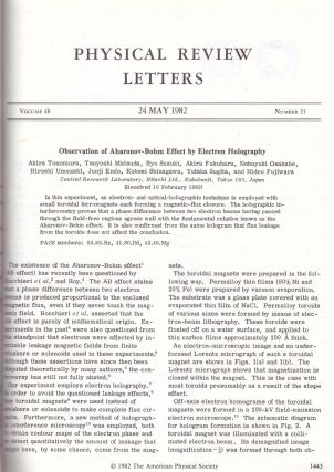 """AHARANOV-BOHM EFFECT: """"Significance of Electromagnetic Potentials in the Quantum Theory"""" and """"Observation of Aharonov-Bohm Effect by Electron Holography"""" (Physical Review: (Second Series) Vol. 115, No. 3; Vol. 48, No. 21 pp. 485-491, 1443-1446) -- 2 Volumes"""