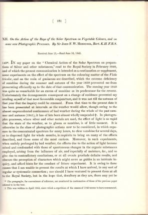 "INVENTION OF THE PHOTOCOPY: ""On the Action of the Rays of the Solar Spectrum on Vegetable..."